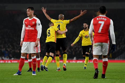 arsenal watford 1 2 arsenal 1 watford 2 match report gunners premier league