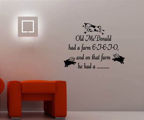 childrens bedroom wall art stickers old macdonald childrens wall art sticker vinyl bedroom ebay