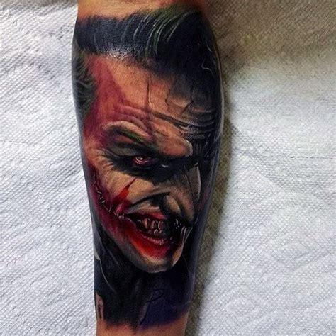 3d joker tattoo on leg 90 joker tattoos for men iconic villain design ideas