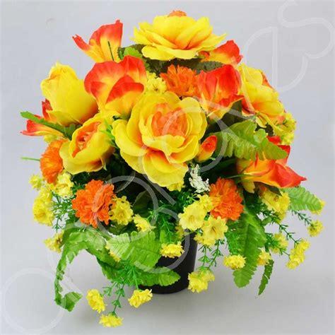 graveside silk flower arrangements sahara yellow artificial flower arrangement graveside pot