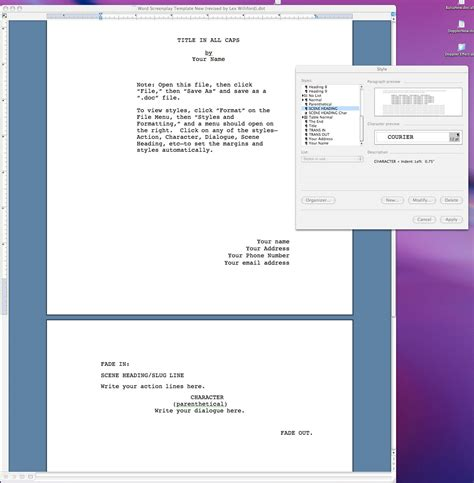 Untitled Document Www Lexwilliford Com Microsoft Word Screenwriting Template