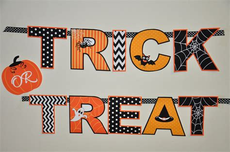 free printable halloween banner templates halloween party trick or treat banner in orange black white