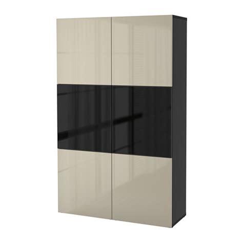 besta storage cabinet best 197 storage combination w glass doors black brown
