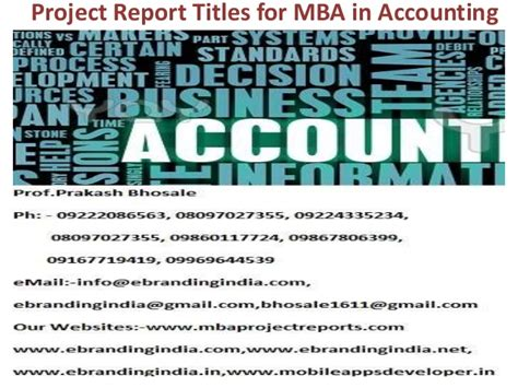 Use Mba In Title by Project Report Titles For Mba In Accounting