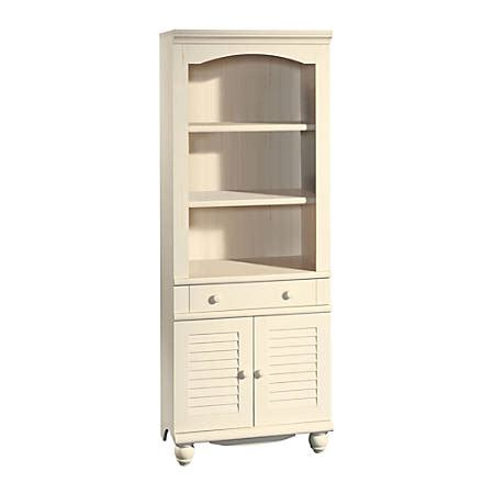 sauder harbor view bookcase sauder harbor view bookcase with doors and drawer 5 shelf