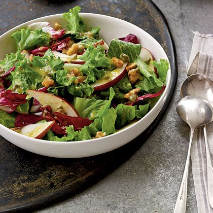 green salad recipes candied walnut pear and leafy green salad recipe myrecipes