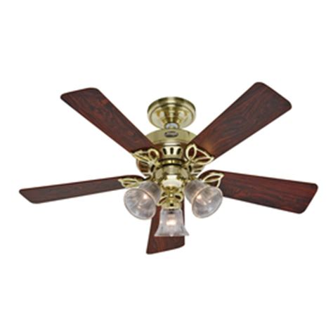 bright brass ceiling fans shop hunter 42 in the beacon hill hunter bright brass