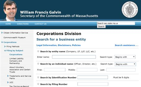 Massachusetts Search Massachusetts Business Entity And Corporation Search Ma