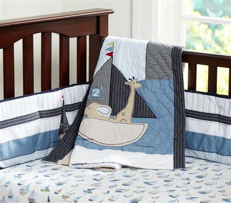 Boat Crib Bedding Nautical By Nature Row Your Boat Pottery Barn