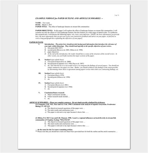 literature review outline template 20 formats exles