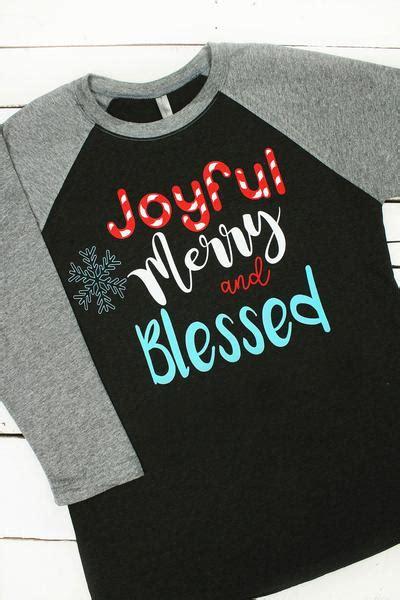 Kaos Merry joyful merry blessed tri blend unisex 3 4 raglan nl6051