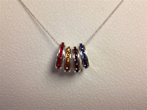 family birthstone charm necklace stackable birthstone