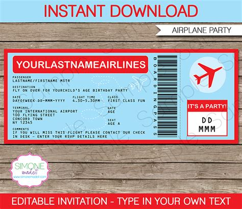 airplane ticket invitations template airplane party