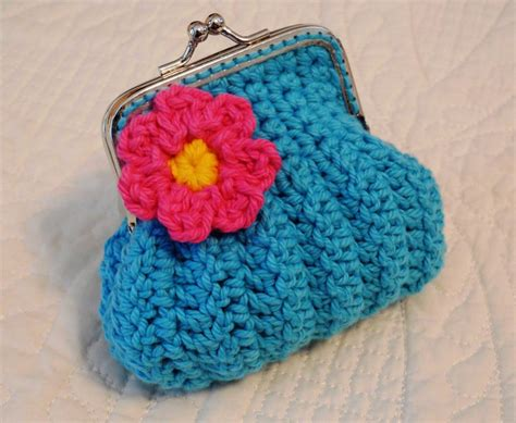 crochet pattern frame purse turquoise crochet coin purse with flower and snap frame on