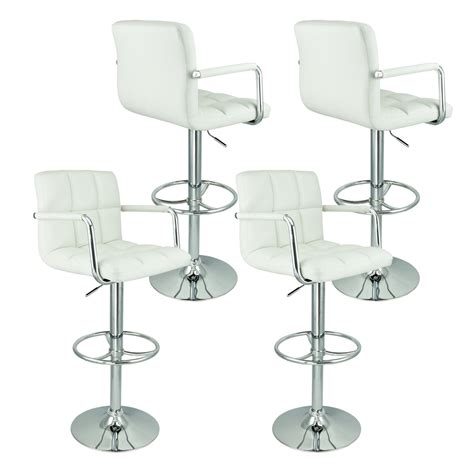 6 adjustable hydraulic barstool swivel bar stool white 4 swivel bar stool white w arm pu leather modern