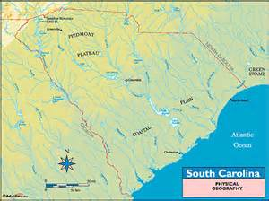 south carolina physical geography map by maps from