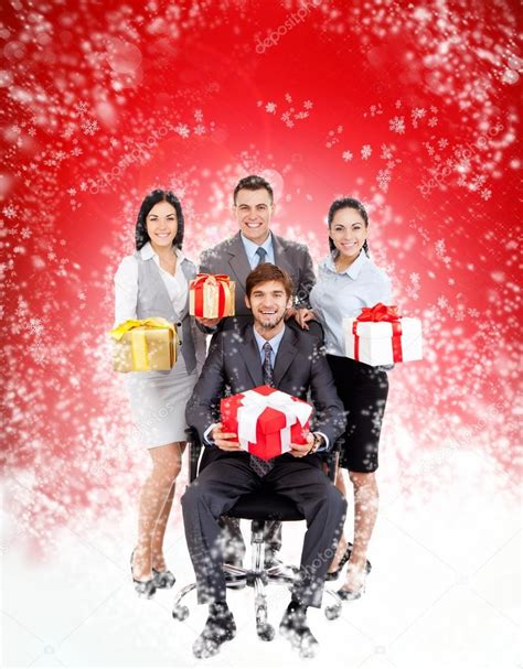 business people christmas group team hold gift boxes
