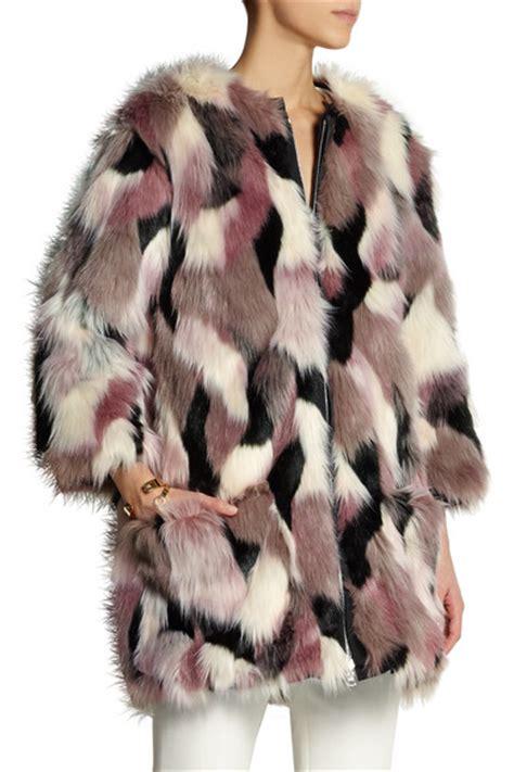 Patchwork Fur - ricci reversible patchwork faux fur coat net a