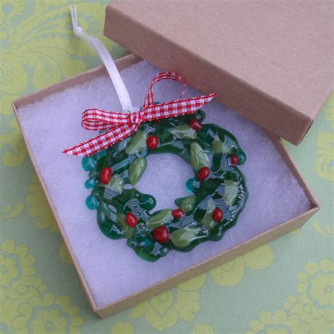 Handmade Glass Tree Decorations - handmade glass wreath tree decoration by