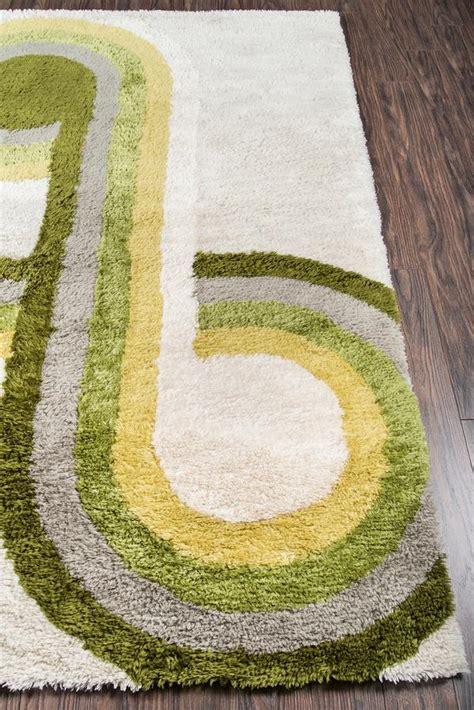 mid century modern green yellow rug novogratz retro