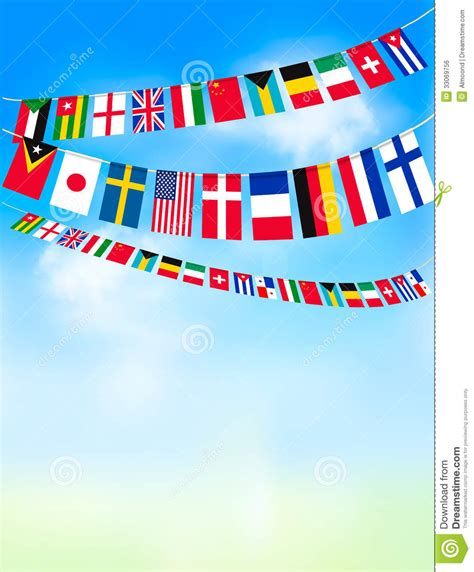 flags of the world bunting world bunting flags on blue sky stock vector