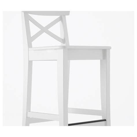 Ingolf Bar Stool White by Ingolf Bar Stool With Backrest White 74 Cm