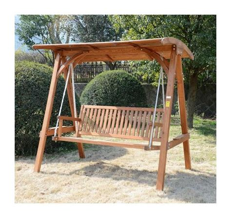 wood bench swing outsunny 3 seater larch wooden garden swing chair seat