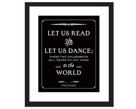 voltaire not quot print on voltaire quote art print let us read and let us dance library poster quotation typography