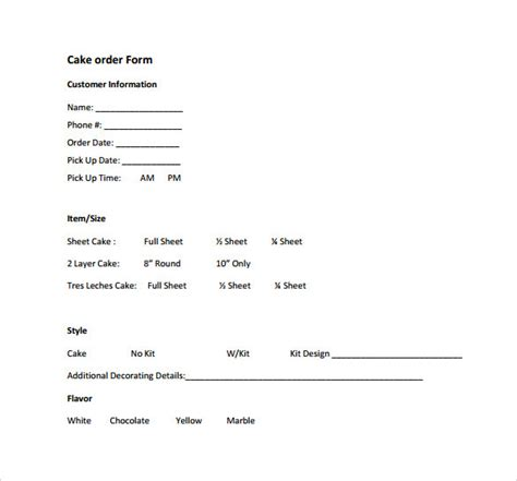 sle cake order form template 16 free documents