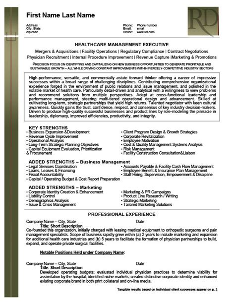 Resume Templates For Healthcare Management Health Care Management Executive Resume Template Premium Resume Sles Exle