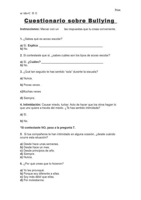 preguntas cerradas bullying calam 233 o cuestionario sobre bullying para alumnos