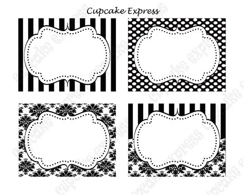label design tumblr diy paris black white damask stripe polka dots printable