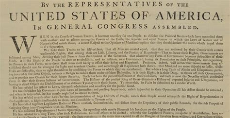 5 Sections Of The Declaration Of Independence by Printed Version Of The Declaration Of Independence