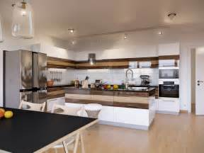 Punctuate the kitchen area at each end whilst a central kitchen