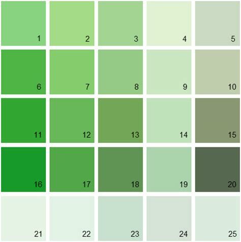 green paint swatches shades of green paint colors 2 of 29 unique