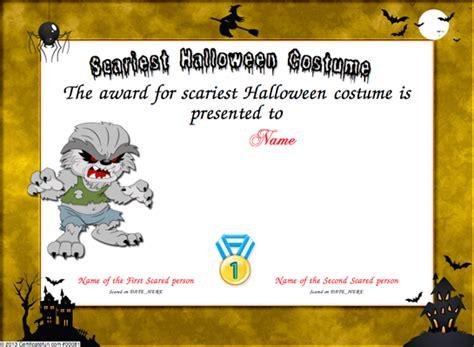 costume certificate template scariest costume