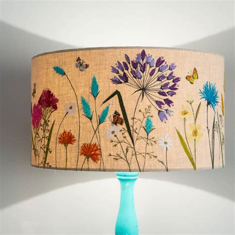Ideas For Embroidered L Shade Large Meadow Flowers Lshade By Lara Sparks Embroidery Notonthehighstreet