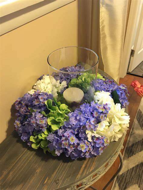 floral centerpiece hydrangeas and lilacs centerpiece