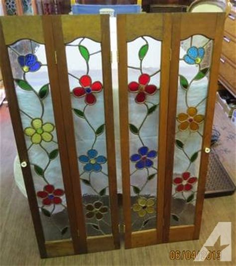 stained glass bi fold cabinet doors for sale in perkasie