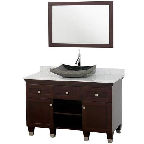bathroom vanity black marble top wyndham collection premiere 48 in vanity in espresso with