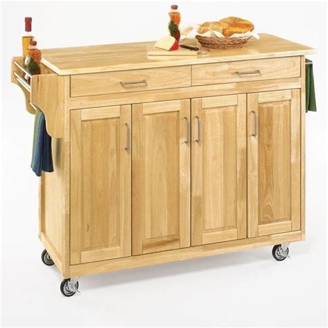 Kitchen Island Or Cart New Large Kitchen Island Cart Utility Butcher Block Storage Doors Wheels Ebay