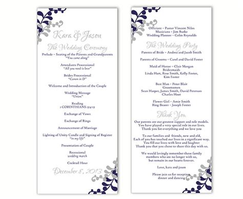 wedding program templates for word free wedding program template diy editable word file instant