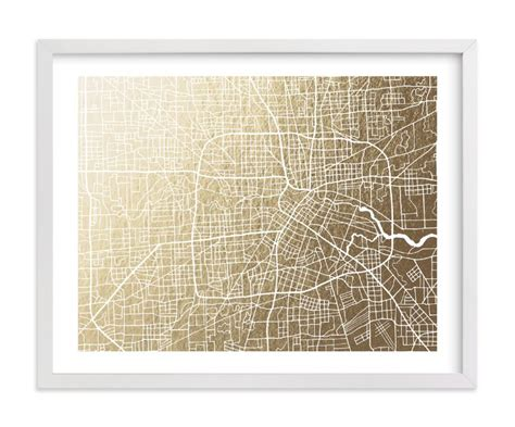 houston map framed houston map foil sted wall by griffinbell paper co