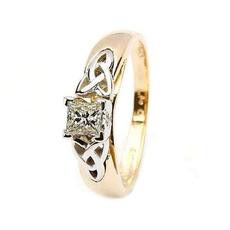 celtic solitaire ring 14k yellow and white gold