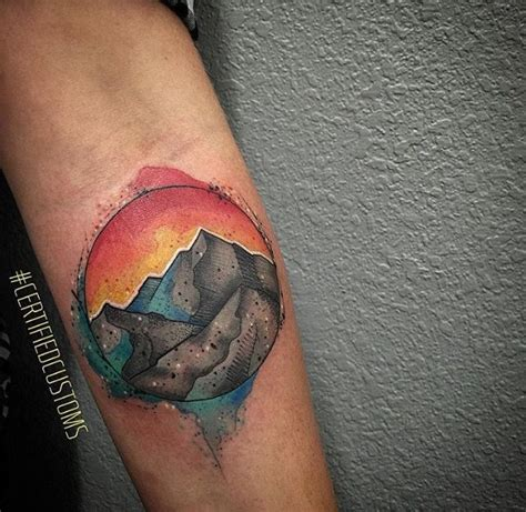 watercolor mountain tattoo custom watercolor mountain done by chris