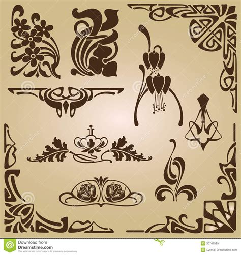 art nouveau elements and corners design ornament royalty free stock images image 30741599