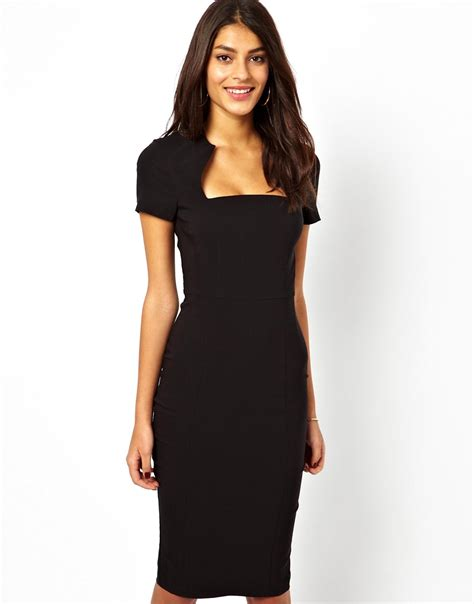 Ij Dress Square 1 asos pencil dress with square neck in lyst