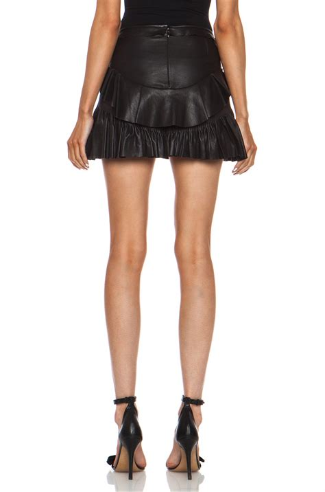 marant cyan lambskin leather skirt in black fwrd