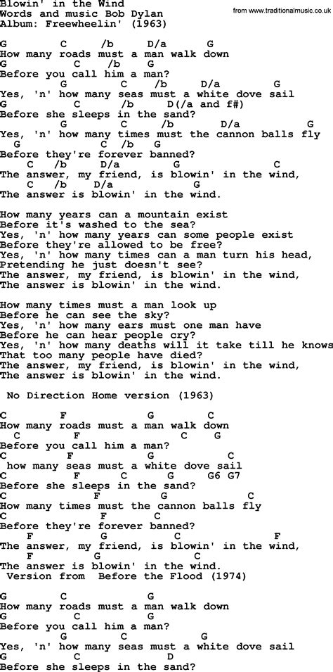 testo blowing in the wind bob song blowin in the wind lyrics and chords