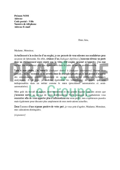 Un Exemple De Lettre De Motivation Pdf Lettre De Motivation Pour Un Emploi De Laborantin